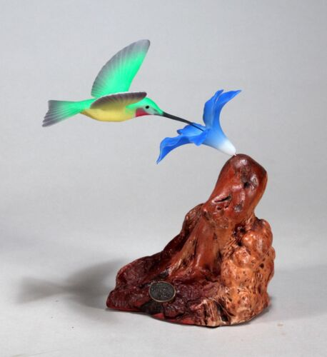HUMMINGBIRD by JOHN PERRY 7in tall sculpture Blue flower New direct from Studio