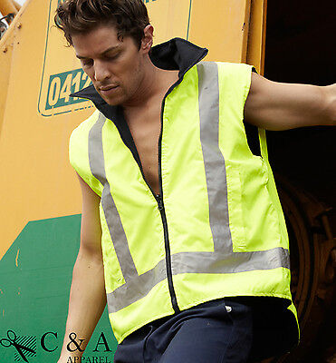 Hi-Vis High Visibility WaterProof Reversible Vest wi Reflective Tape Safety Gear