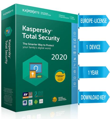 Kaspersky TOTAL Security 2020  1 PC / 1 DEVICE/ 1  Year / REGION- EUROPE 7.35$
