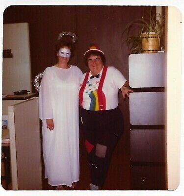 Square Vintage 70s PHOTO Pair Women in Angel & Rainbow Halloween Costumes](Vintage Halloween Costumes 70s)