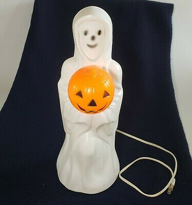 "Vintage Empire Ghost Blowmold 14"" White With Pumpkin"