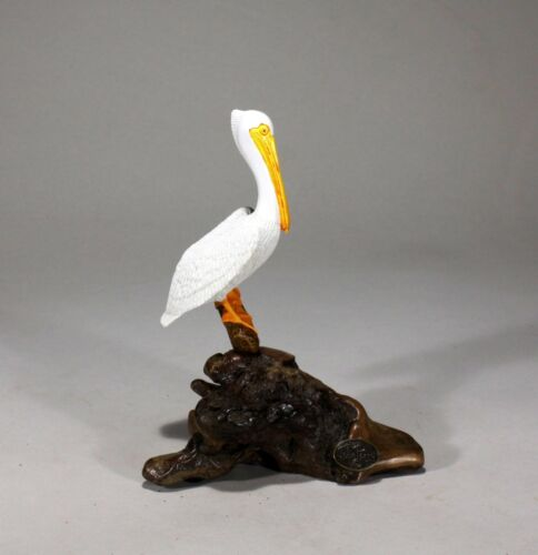 White Pelican by John Perry 7in tall sculpture new direct from the Studio