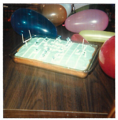 VINTAGE 80s PHOTO Birthday Cake w/ Football Theme & Balloons (80s Themed Cakes)