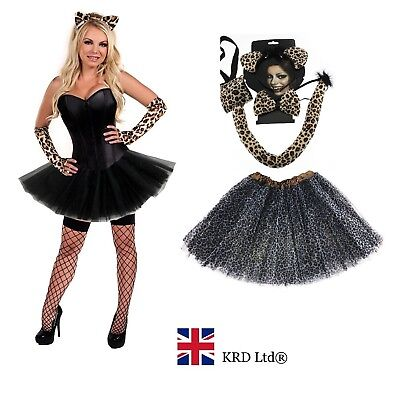 ADULT LEOPARD Halloween Fancy Dress Ladies Wild Cat Tutu Costume Skirt Gloves UK