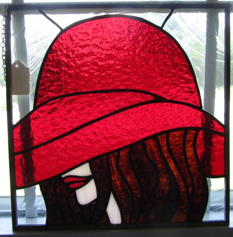 Stained Glass - Lady in Red Hat - Panel Handmade