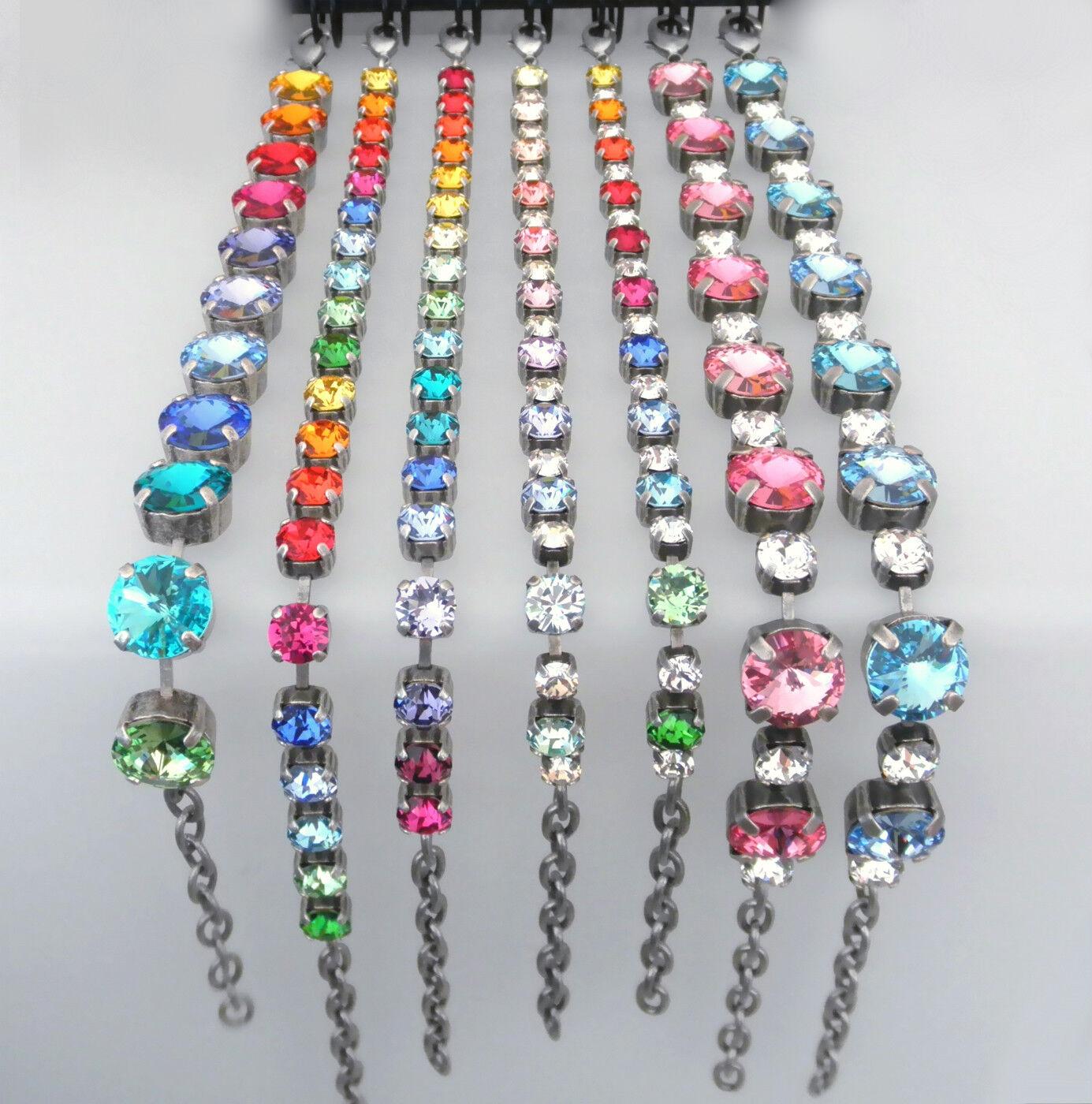 Strass-Armband (alt-)versilbert besetzt mit Swarovski® Kristallen - farbig