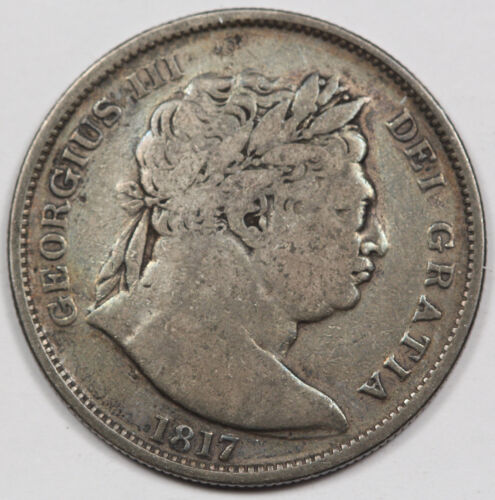 GREAT BRITAIN UK 1817 Silver Half (1/2) CROWN Coin Fine KM #672 George III