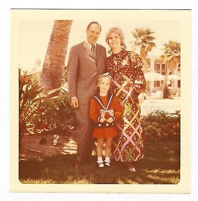 Square Vintage 70s PHOTO Family w/ Fashionable Mom & Little Girl In Sailor - 70s Girl Fashion