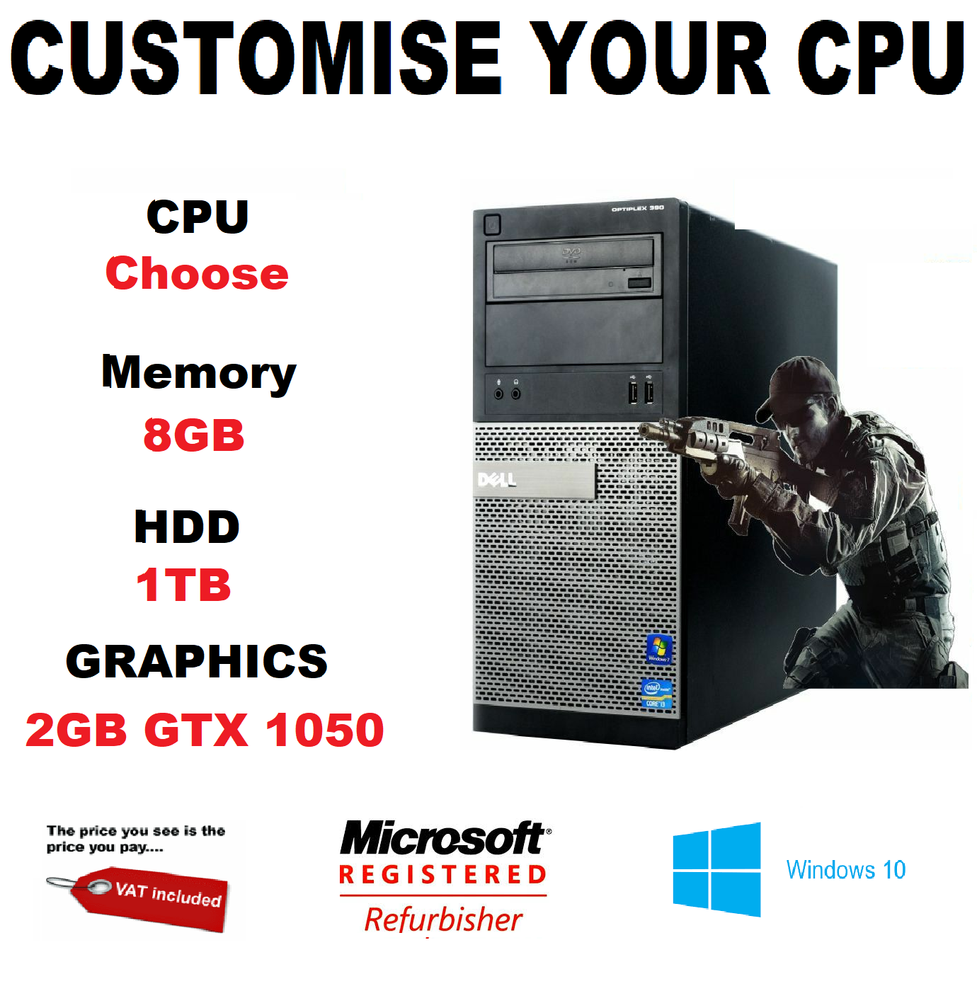 Computer Games - DELL GAMING PC Core i3 i5 i7 1TB HDD 8GB COMPUTER TOWER WINDOWS 10 NEW GTX 1050