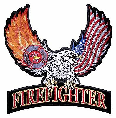 Firefighter Eagle Wings Flames Embroidered Biker Patch Large FREE SHIP