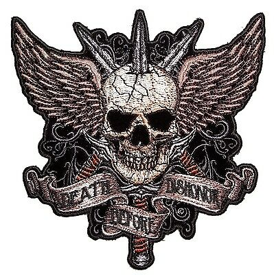 Large Death Before Dishonor Skull Swords Wings Embroidered Biker Patch FREE SHIP