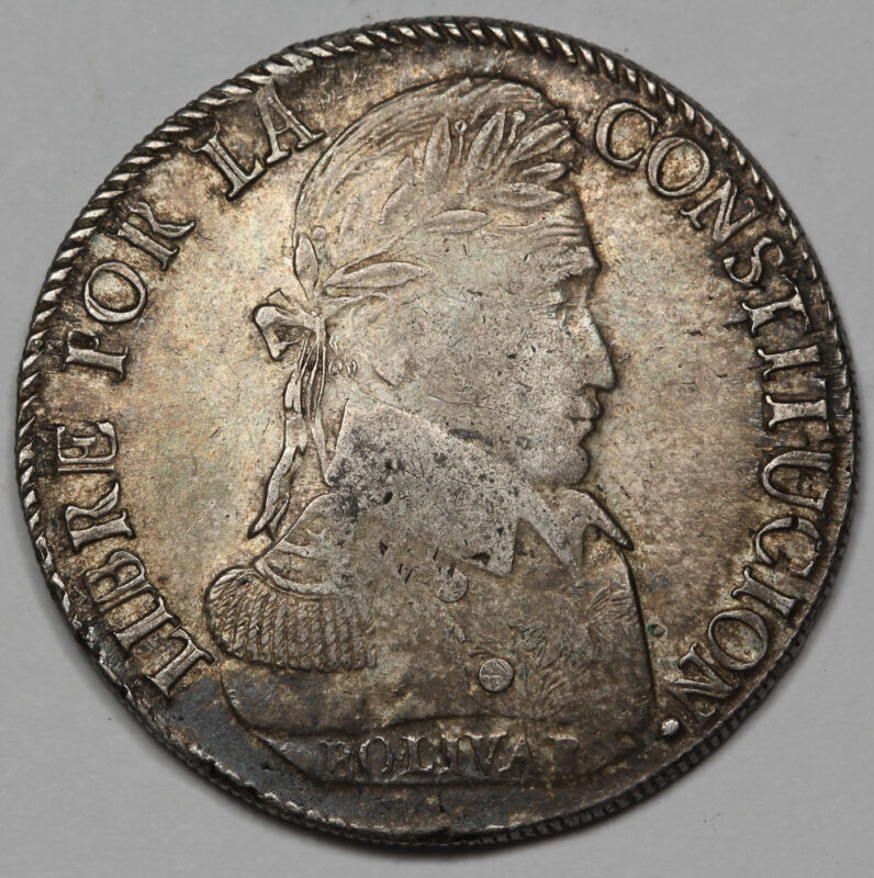 Bolivia 1828 PTS JM 8 Soles Silver Coin XF/AU KM #97 POTOSI Mint Nicely Toned