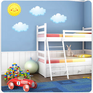 Childrens Kids Bedroom Sun And Clouds Wall Art Stickers