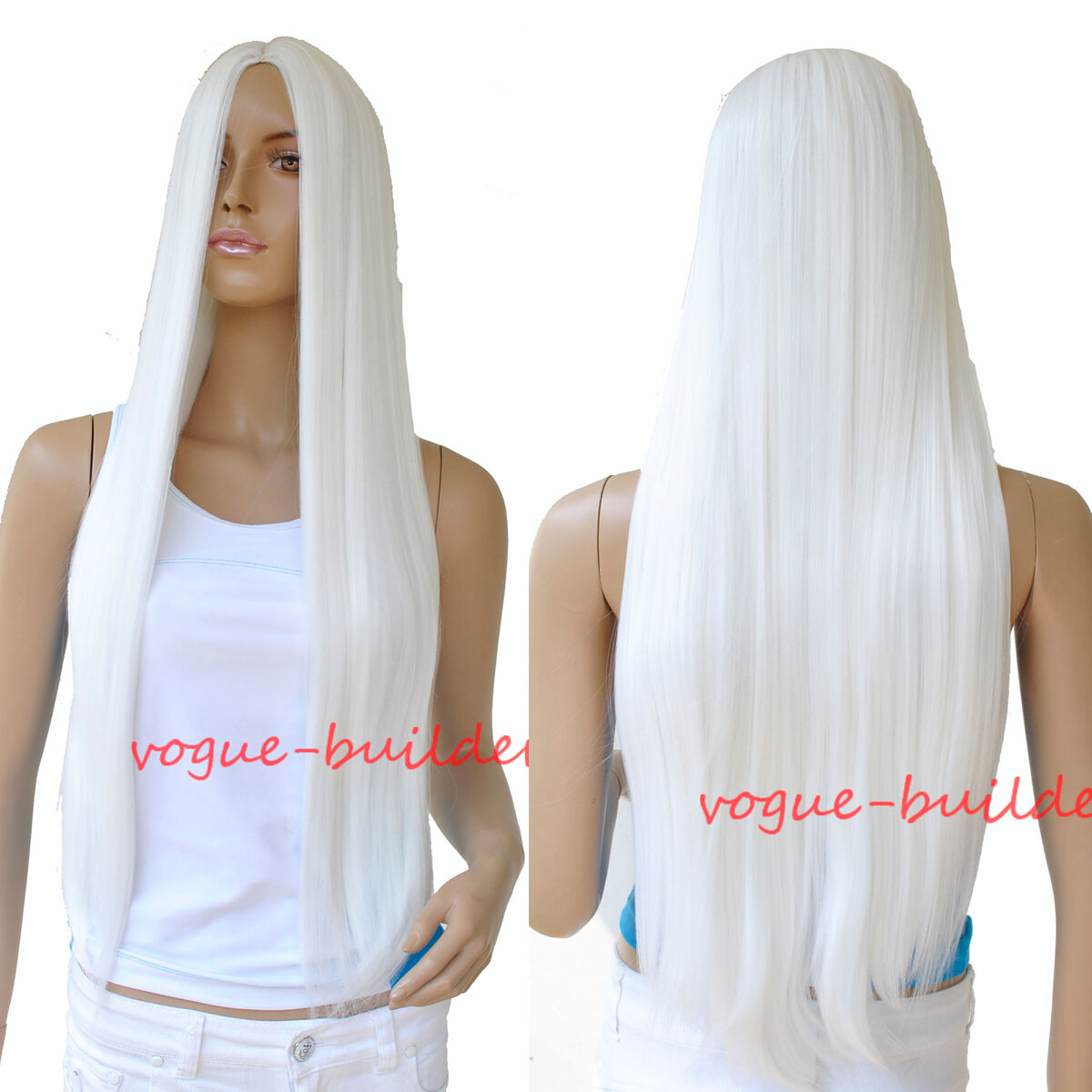 70 cm 28 inch High Heat Resistent Long White Straight Cosplay Party Hair Wig