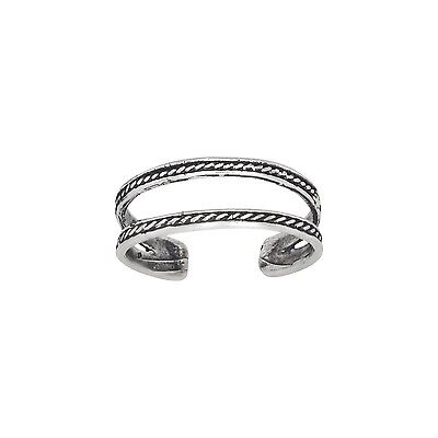 Sterling Silver Double Rope Lines Design Toe Ring Adjustable Size | Made In USA