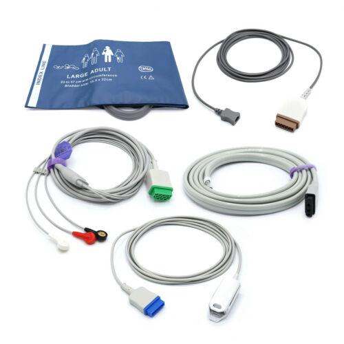 Datex Ohmeda Accessories Bundle - Cuff, Hose, SpO2, ECG, Temperature - USA