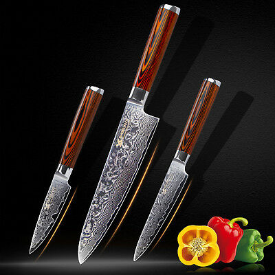 BIGSUNNY 3Pcs Damascus Knife Set Chef Utility & Paring Knife For Home Kitchen