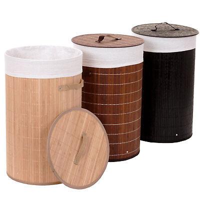 Wäschekorb HWC-C21, Laundry Wäschesammler Wäschetonne, Bambus rund 59x35cm 50l