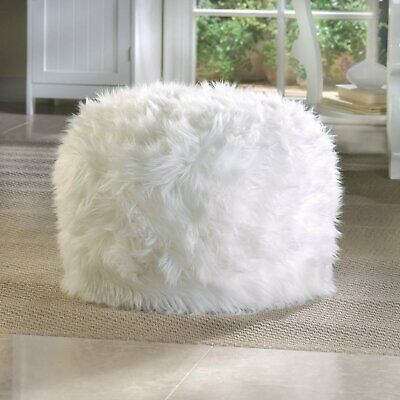 NEW POLYESTER ROUND FUZZY WHITE OTTOMAN POUF BY ACCENT -
