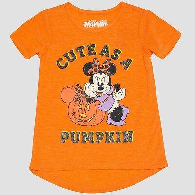 Toddler Girls Glow-In-The-Dark Minnie Mouse SS Halloween Cute As Pumpkin T-Shirt](Toddler Halloween T Shirts)