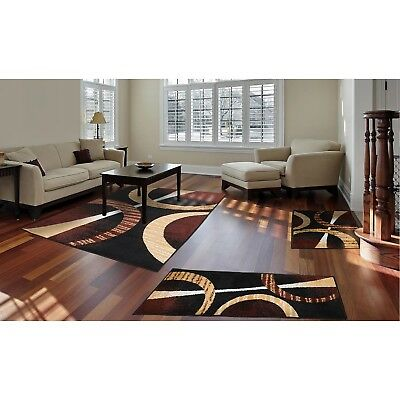 Confuse Rugs 3 Piece Set Living Room Big Area Floor Mat Runner Scatter Brown Black