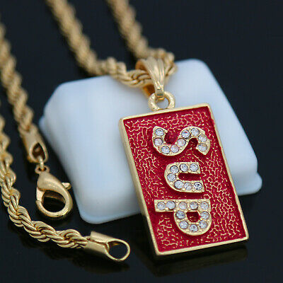 14k Gold PT Supreme Block Letter Pendant 24