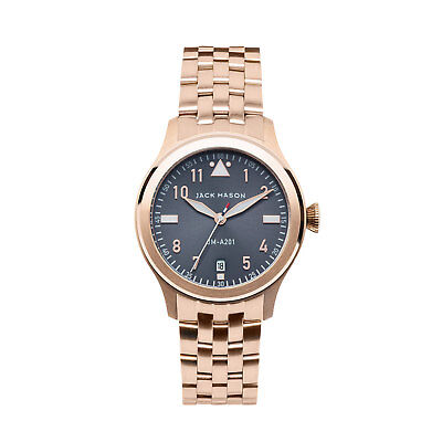 JACK MASON GREY DIAL DATE GOLD-TONE STAINLESS STEEL LADIES WATCH JM-A201-009 NEW