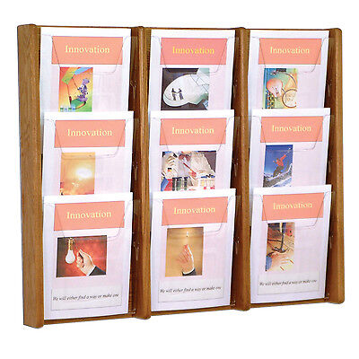 Wooden Mallet Ac26-9 Medium Oak 9 Slot Magazine Display Rack