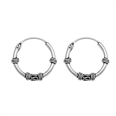- Love Knot Design with Waived Bali Hoop 925 Sterling Silver Earrings