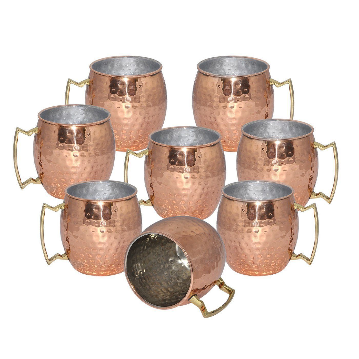 SET OF 8 HAMMERED 20 OUNCE MOSCOW MULE MUGS CUPS COPPER NEW