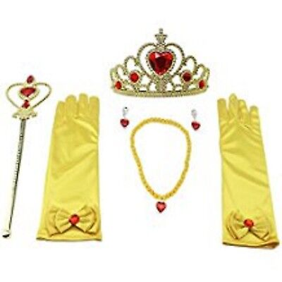 Princess Dress Up Accessories For Belle Gloves Tiara Crown Wand Necklaces Kids