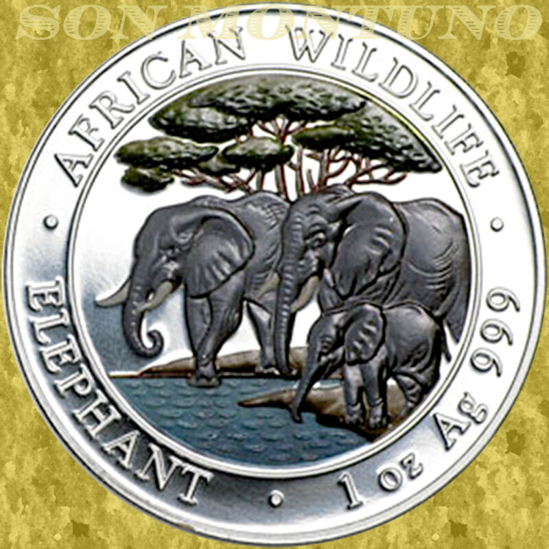 2013 SOMALIA African Wildlife ELEPHANT 1 OZ COLORED Silver Coin ONLY 5000 MINTED