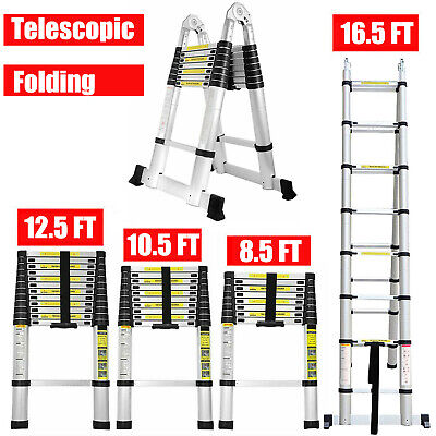 8.5ft-16.5ft Aluminum Telescopic Extension Ladder Extendable Folding Heavy Duty