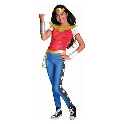 Wonder Woman Girls Costume S M L Child Kids Pants Top Tiara Halloween - Wonder Woman Halloween Costume Pants