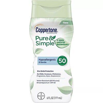 Coppertone Spf 50 (New Coppertone Pure & Simple Sunscreen Lotion SPF 50 6 Fl. Oz.)