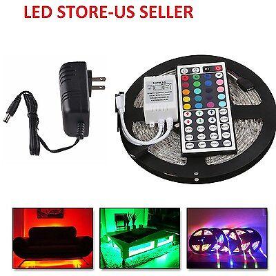 5M RGB 5050 Non Waterproof LED Strip light SMD 44 Key Remote 12V Supply Power