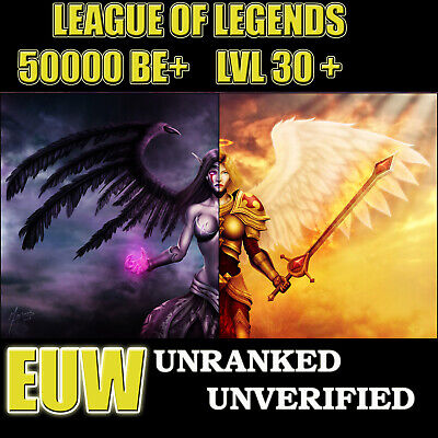 League of legends Lol account EUW Lvl 30+ 50-55k BE ✅ Unverified...