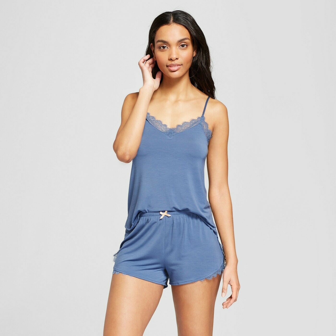 Gilligan & O'Malley Women's Total Comfort Lace Tank & Shorts Pajama Set -Blue XS Clothing, Shoes & Accessories