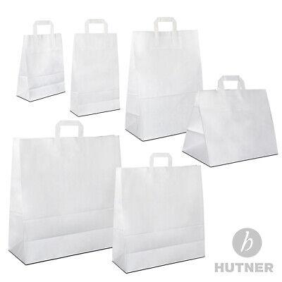 HUTNER Papiertüten weiss Flachhenkel Papiertragetaschen Papiertaschen klein/groß