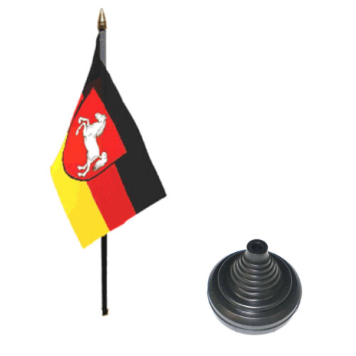 "12 Pack Lower Saxony 6"" x 4"" Desk Table Flag with Black Plastic Cone Bases"