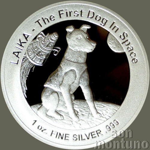 LAIKA - First Dog in Space - 1 oz Silver Proof Dollar Coin with COA - 2018 Niue