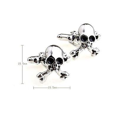 Skull Cross Bones PIRATE Party Cufflinks Novelty Wedding FUN Halloween Office