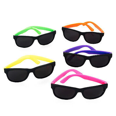 Set of 12 Plastic Assorted Neon Sunglasses Children's Kids Colorful Toy Party