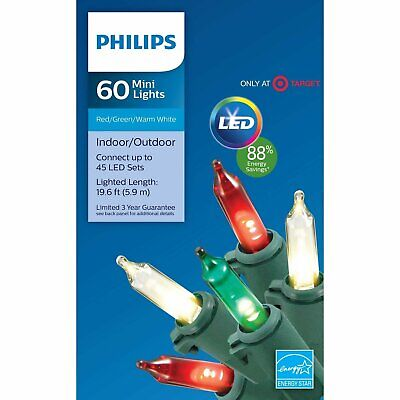 Philips 60ct Christmas LED Smooth Mini String Lights, Red, W