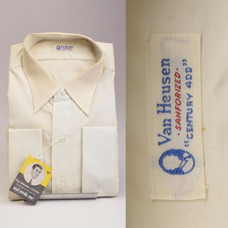 1950s Deadstock White Cotton Dress Shirt VTG Long Sleeve French Cuffs One Pocket