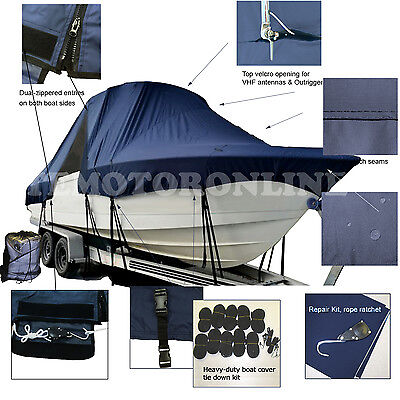 Sea Chaser 2400 CC Center Console Fishing T-Top Hard-Top Boat Cover Navy