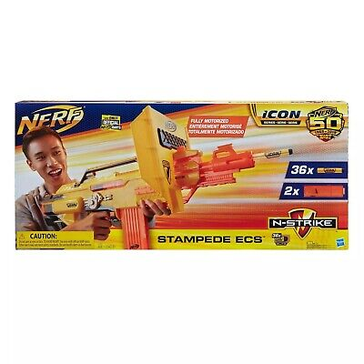 NERF N-STRIKE ICON FULL AUTO STAMPEDE ECS 50 NEW! 36 DARTS & 2 extended clips