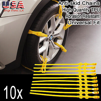 10PCS Universal Snow Tire Anti-skid Chains TPU Car Wheel Tyre Chain Ice Break
