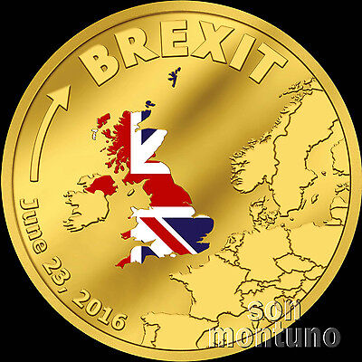 Brexit Coin 1 10 Tenth Oz 24K Gold Proof   June 23 2016 Cook Islands 20 Dollars
