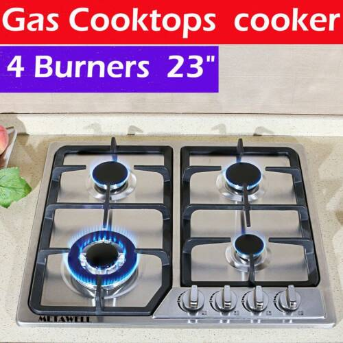 "23"" Built-in Cooktop Stove LPG/NG Gas Hob w/4 Burners with C"